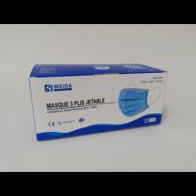 Masques jetables 3 plis à élastique avec barrette nasale - Industrie online